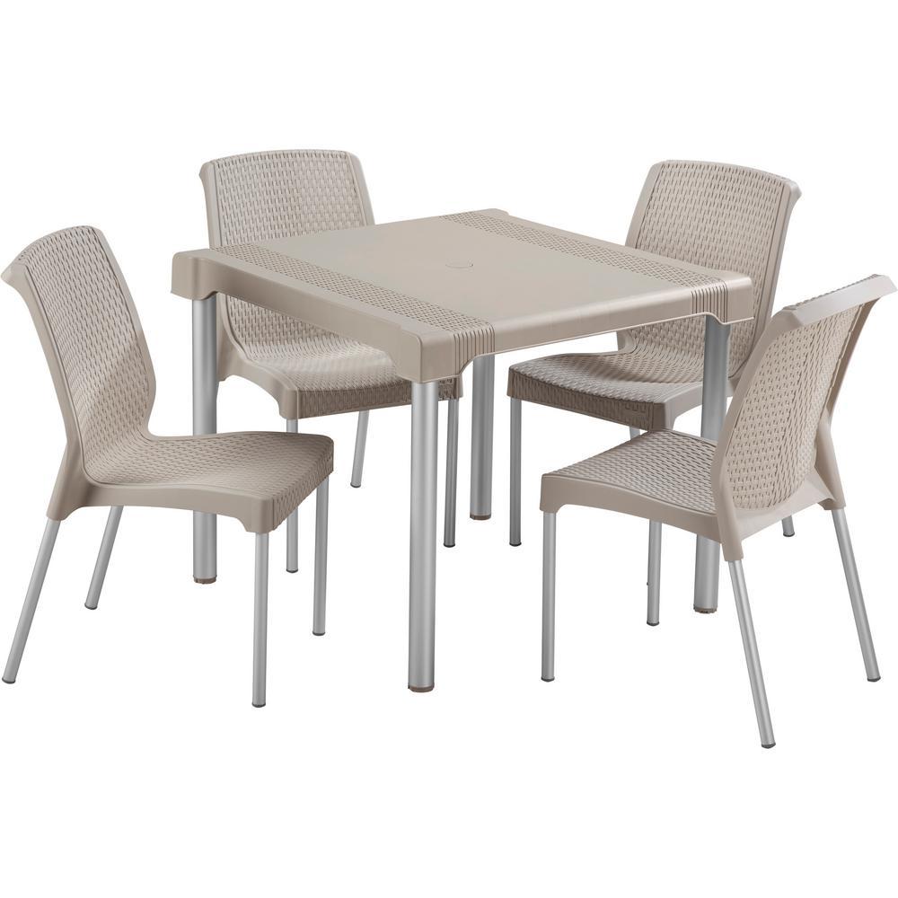 Beige Resin 5-Piece Plastic Outdoor Dining Set