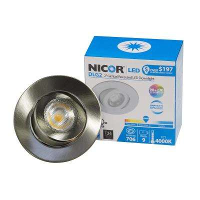 NICOR 2 in. Nickel (3000K) LED Retrofit Recessed Gimbal Trim Kit 92.4  sc 1 st  The Home Depot & 2 in. - Recessed Lighting - Lighting - The Home Depot azcodes.com