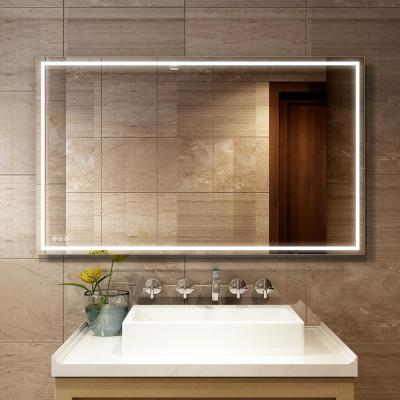 60 in. W x 36 in. H Frameless Rectangular LED Light Bathroom Vanity Mirror in clear