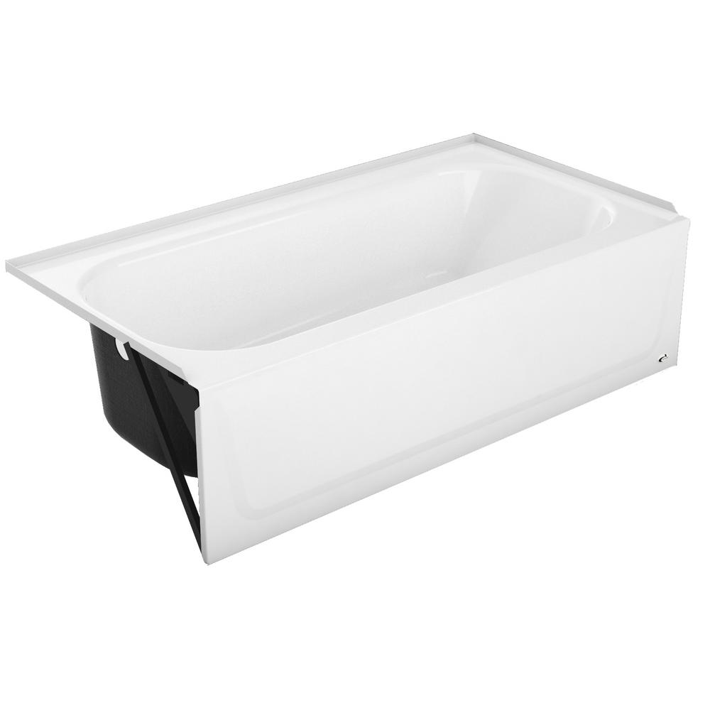 Bootz Industries Maui Plus 60 in. Left Drain Rectangular Alcove Soaking Bathtub in White