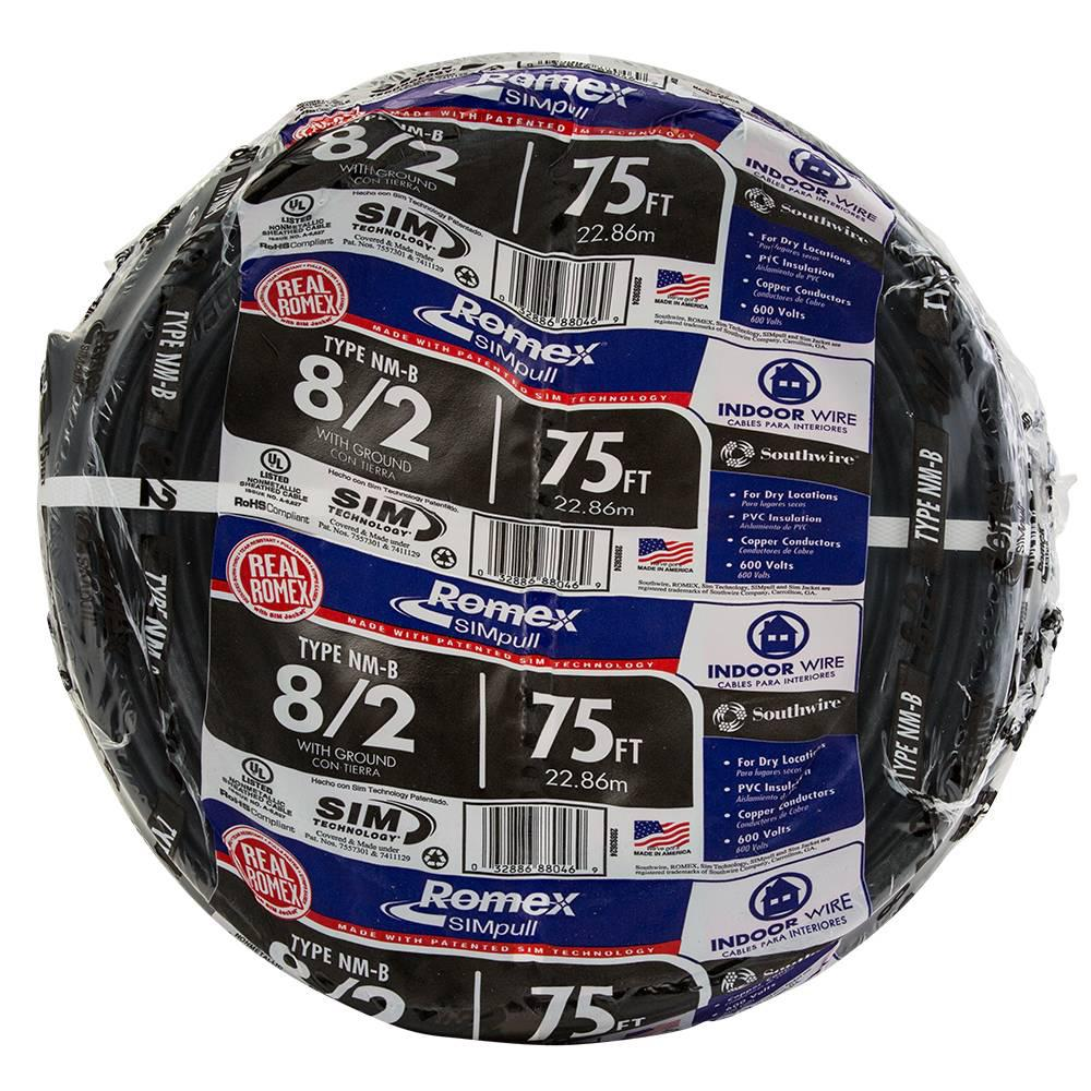 Southwire 75 ft. 8/2 Stranded Romex SIMpull CU NM-B W/G Wire ...