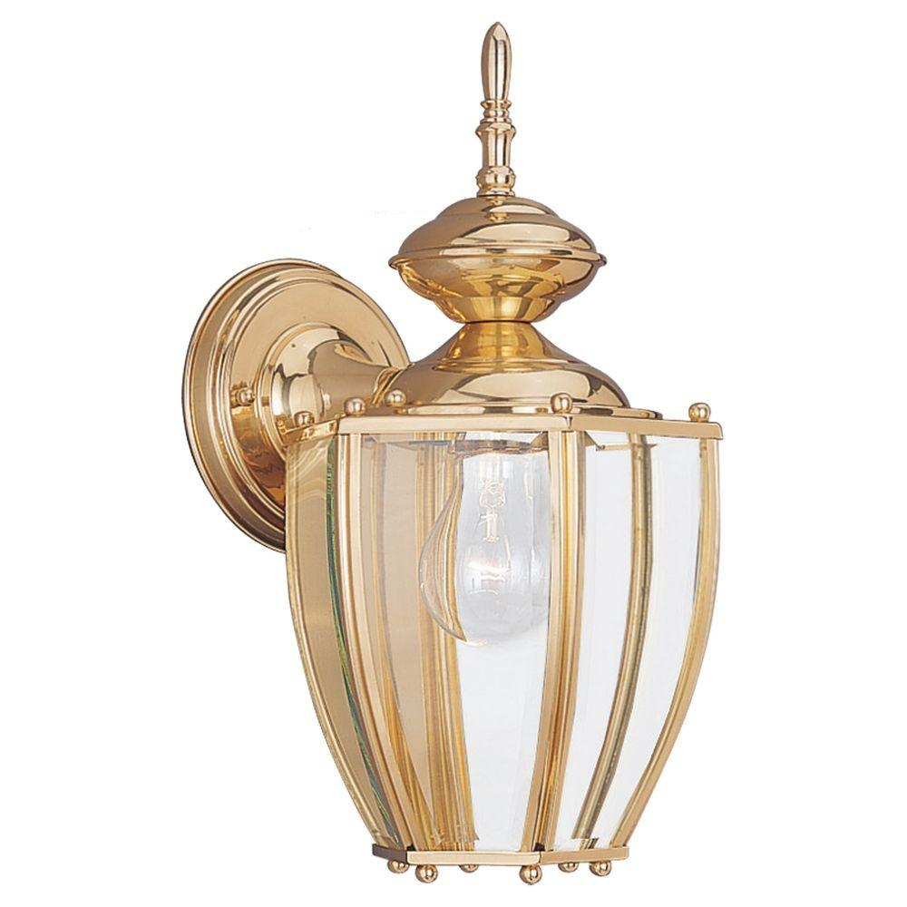 Sea Gull Lighting Society Hill Wall-Mount 1-Light Outdoor Polished Brass Fixture