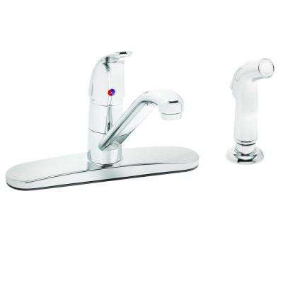 Commander 1-Handle Standard Kitchen Faucet with Hose Spray in Polished Chrome