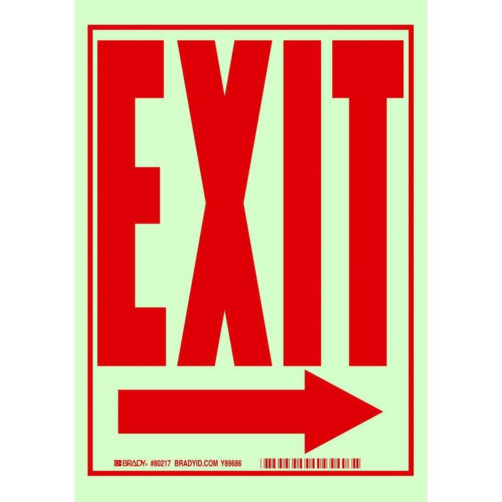 10 in. x 7 in. Glow-in-the-Dark Self-Stick Polyester Right-Pointing Arrow Exit