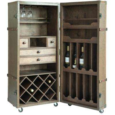 Vintage Crocodile Leather Wine Bar Cabinet with Lockable Latch