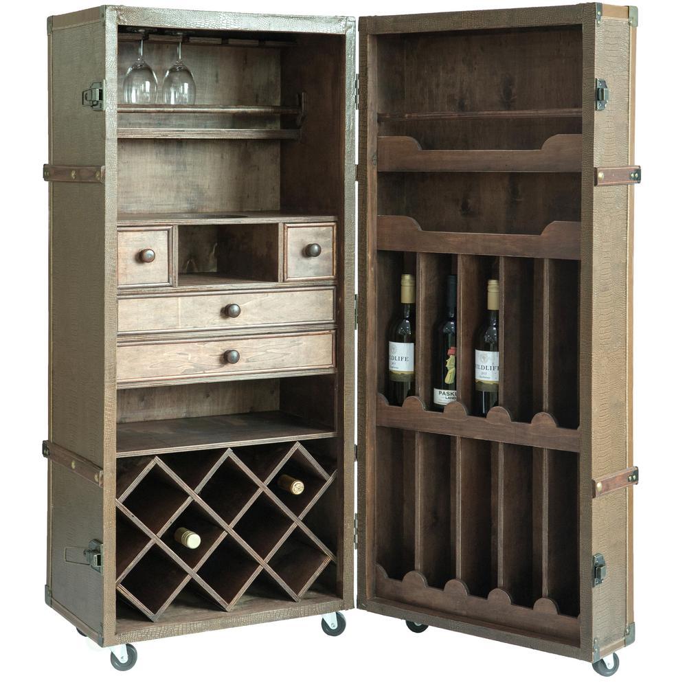 Vintage Crocodile Leather Wine Bar Cabinet with Lockable Latch