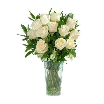 White Rose Bouquet Gorgeous Fresh Cut Bouquet in a Clear Vase (12 Stem) Includes Overnight Shipping