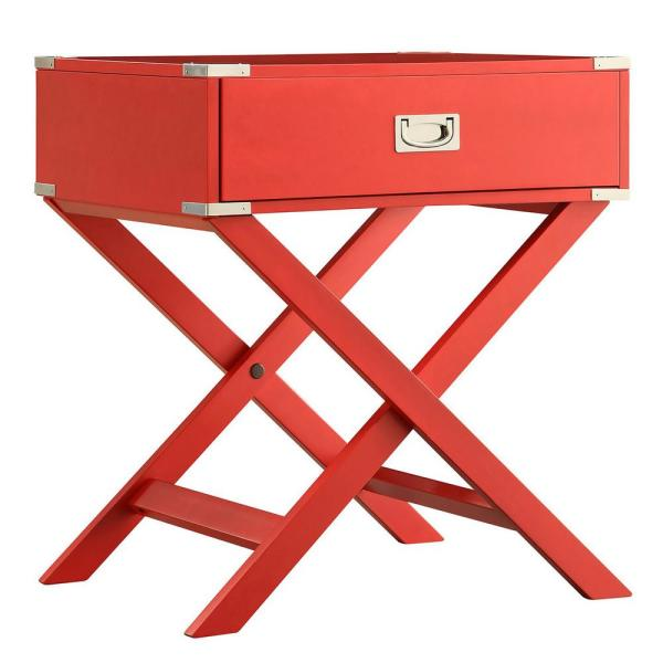 Wenderson 1-Drawer Red Nightstand