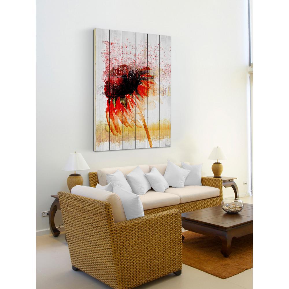 60 in. H x 40 in. W ''Flower 4'' by Parvez Taj Printed White Wood Wall Art