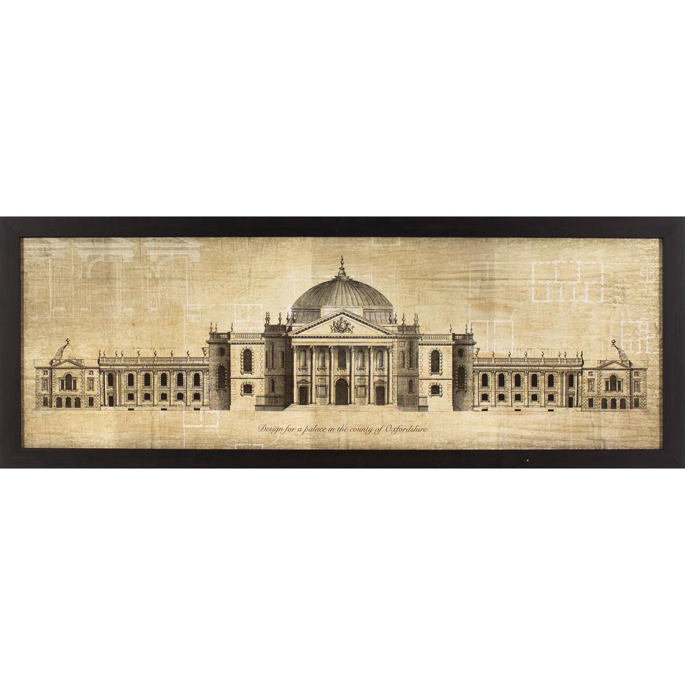 Decor therapy 38 in x 14 in oxfordshire palace blueprint printed decor therapy 38 in x 14 in oxfordshire palace blueprint printed framed wall art malvernweather Image collections