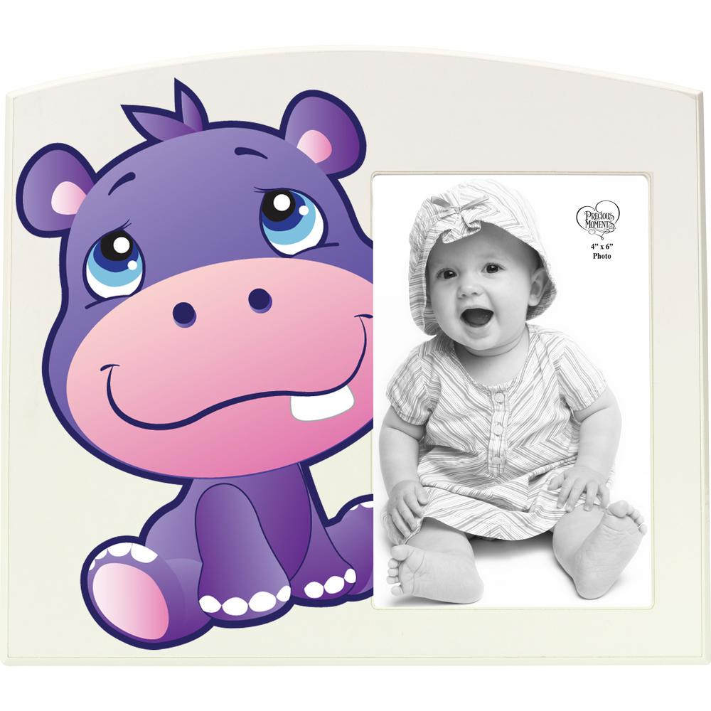 Precious Moments Precious Paws 4 in. x 6 in. White and Purple Hippo Matte Wood Picture Frame, Multi From the Precious Paws collection of this grinning hippo sits beside a favorite 4 in. x 6 in. photo of a precious little one. Bold lines and colorful artwork are sure to have a young child captivated a perfect accent for any nursery or playroom. Give this Precious Moments photo frame as a thoughtful baby gift for both boys and girls as a birthday gift baby's first gift or for any of a little one's special occasions. Crafted of durable MDF. Approximately 9 in. W x 8 in. H Color: Multi.