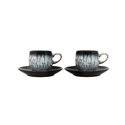 Halo 3 oz. Blue Stoneware Espresso Cup and Saucer (Set of 4)