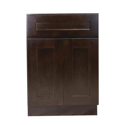 Brookings Plywood Ready to Assemble Shaker 24x34.5x24 in. 2-Door 1-Drawer Base Kitchen Cabinet in Espresso
