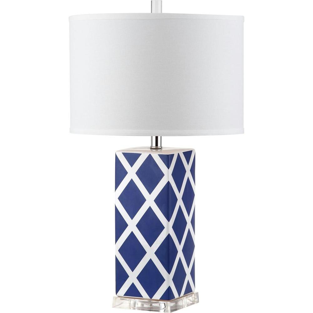 navy table lamp navy blue safavieh garden lattice 27 in navy table lamp with white shade