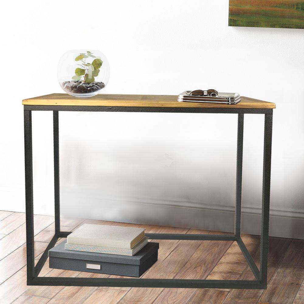 Industrial Reclaimed Wood Square Console Table