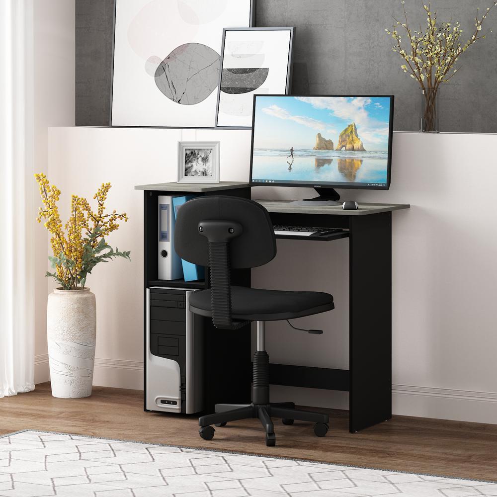 33 in. Rectangular Oak Gary Computer Desk with Keyboard Tray