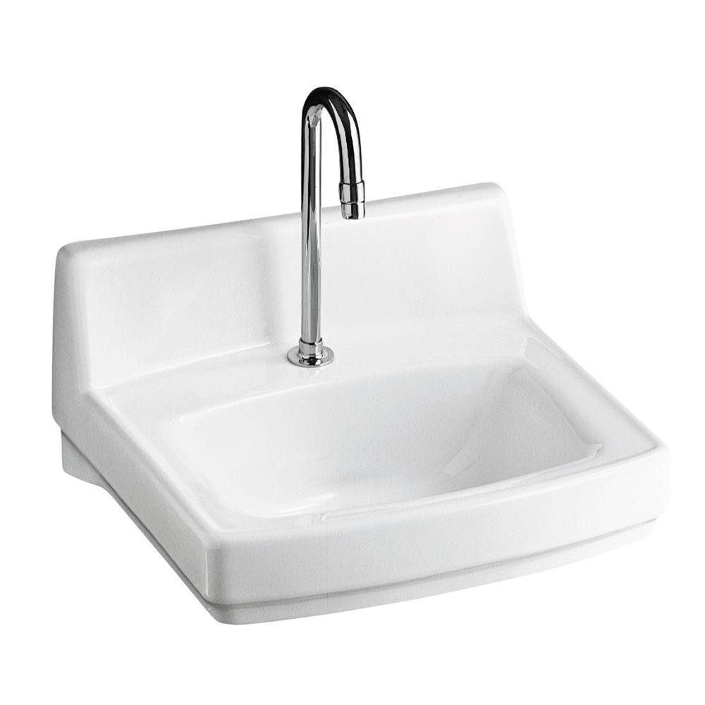 kohler greenwich wall mount vitreous china bathroom sink in white with overflow drain k 12643 0. Black Bedroom Furniture Sets. Home Design Ideas