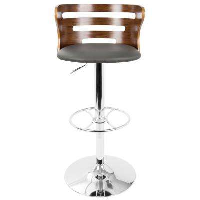 Cosi Walnut and Grey Adjustable Barstool