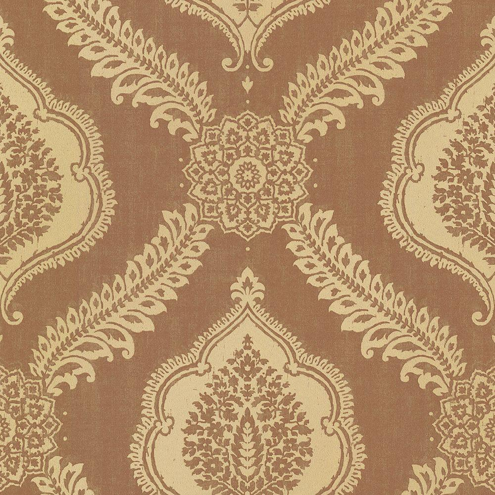 Zoraya Copper Damask Wallpaper