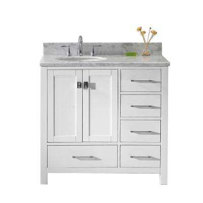 Caroline Avenue 36 in. W Bath Vanity in White with Marble Vanity Top in White with Round Basin