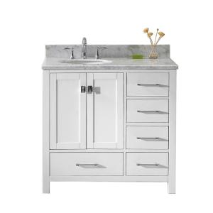 Virtu USA Caroline Avenue 36 inch W x 22 inch D Single Vanity in White with Marble Vanity... by Virtu USA