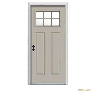 30 in. x 80 in. 6 Lite Craftsman Desert Sand Painted Steel Prehung Right-Hand Inswing Front Door w/Brickmould