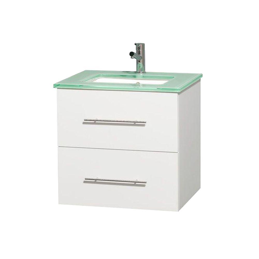 Wyndham Collection Centra 24 in. Vanity in White with Glass Vanity Top in Green and Under-Mount Square Sink