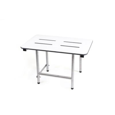 Rectangle 27 in. W x 16 in. D Folding Shower Seat with Adjustable Legs in White Phenolic Slotted