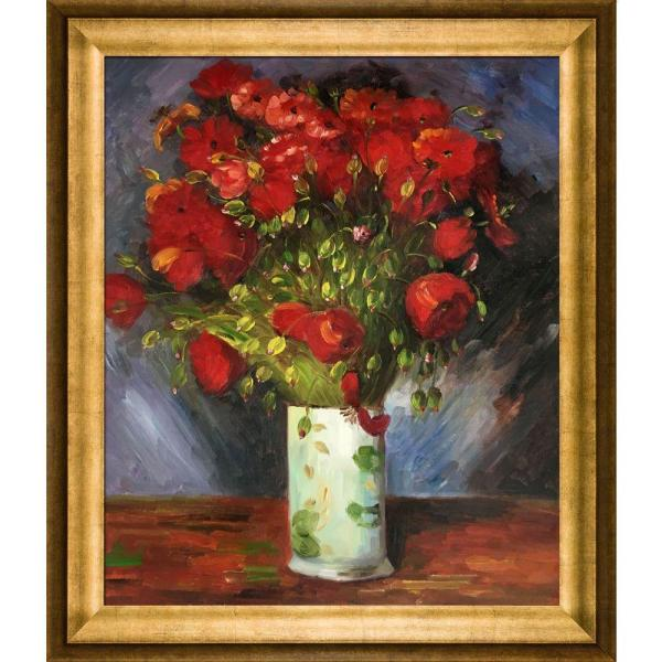 overstockArt ArtistBe Red Poppies 451150 by Pol Ledent with Rococo Silver Frame