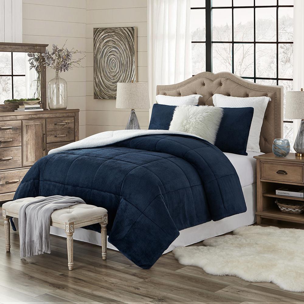 Premium Ultra-Soft 3-Piece Navy Faux Fur Reverse to Sherpa King/California King Comforter and Sham Set