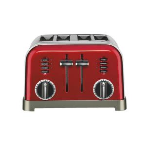 4-Slice Red Wide Slot Toaster with Crumb Tray