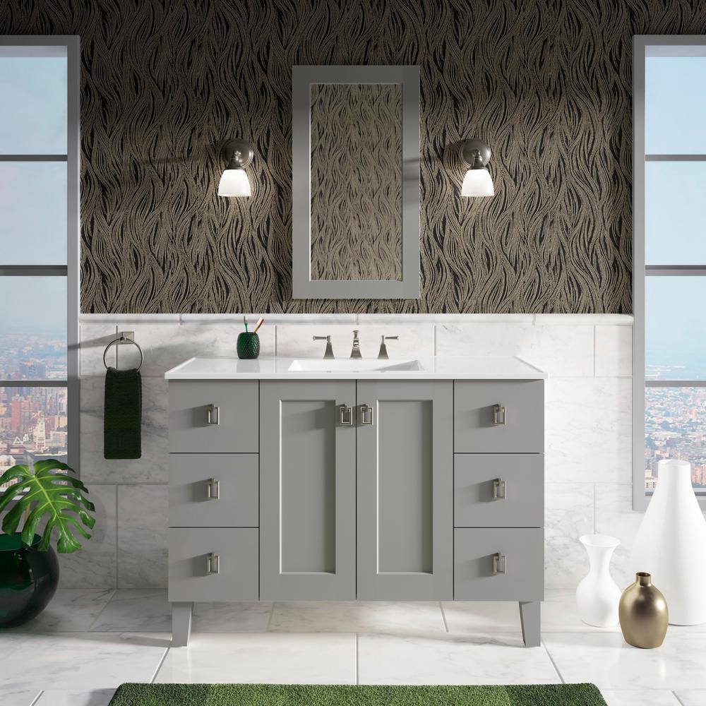 Superieur KOHLER Poplin 48 In. W Vanity In Mohair Grey With Marble Vanity Top In  Carrara