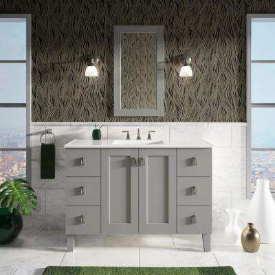 Poplin 48 in. W Vanity in Mohair Grey with Marble Vanity Top in Carrara with White Basin