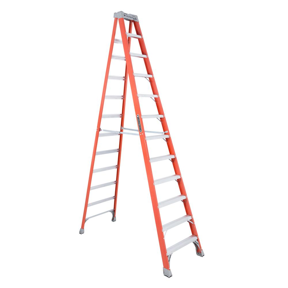 Louisville Ladder 12 Ft Fiberglass Step Ladder With 300 Lb Load Capacity Type Ia Duty Rating Fs1512 The Home Depot