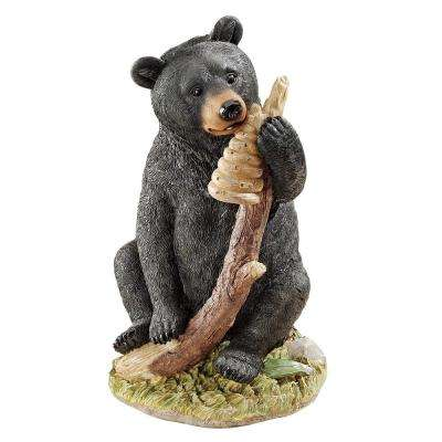 14 in. H Black Honey The Curious Bear Cub Statue