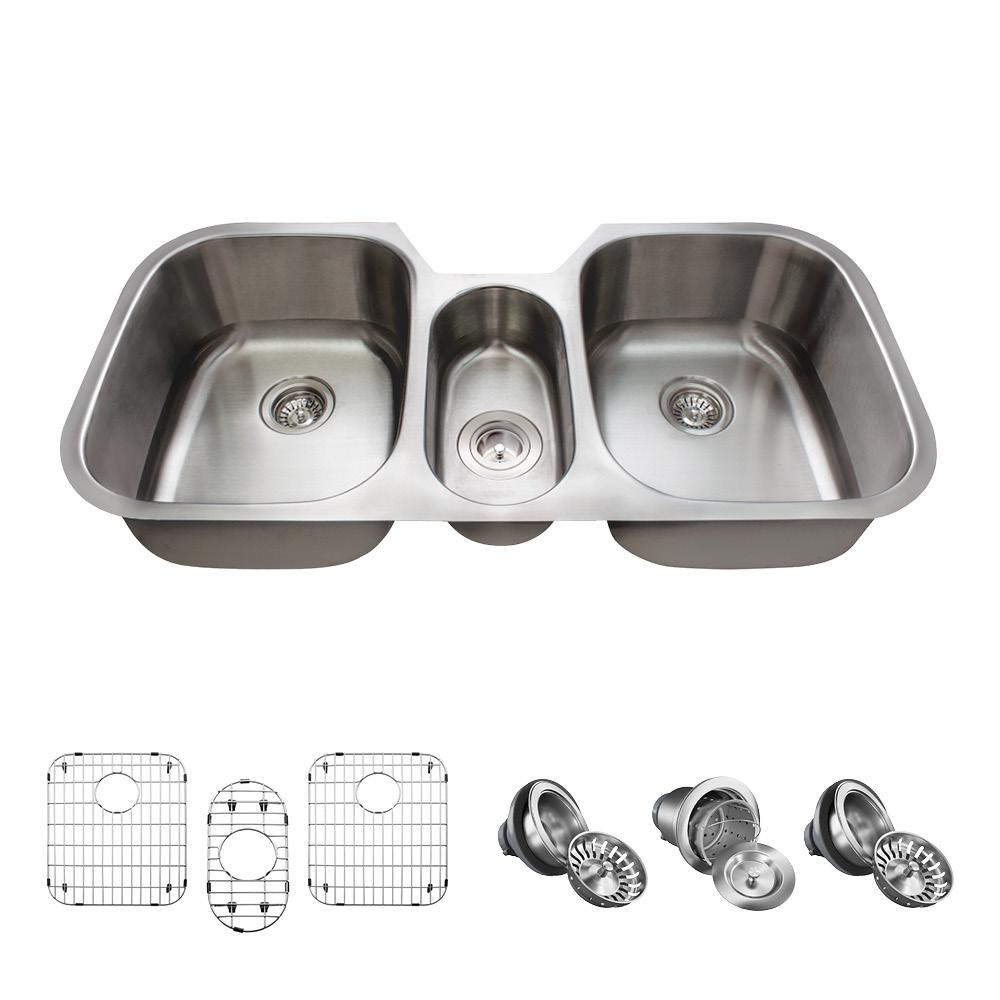MR Direct All-in-One Undermount Stainless Steel 43 in. Triple Bowl ...