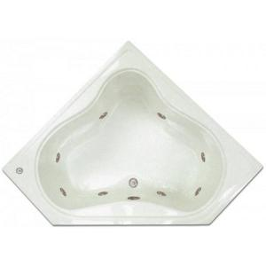4.48 ft. Corner Drop-In Whirlpool Tub in White by