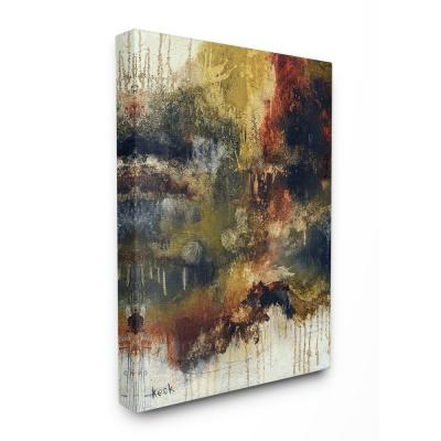 "16 in. x 20 in. ""Rusty Brown Black and Ochre Brushed Abstract Painting"" by Michel Keck Canvas Wall Art"