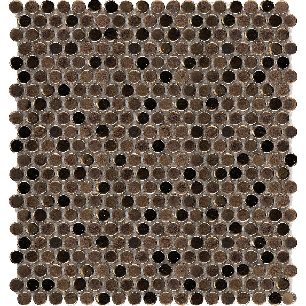 Confetti Bronze 11.81 in. x 11.81 in. x 8mm Porcelain Mesh-Mounted