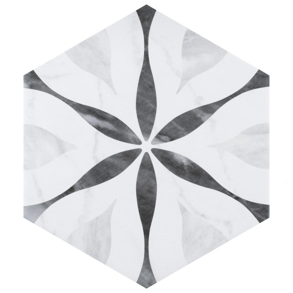 Merola Tile Classico Bardiglio Hexagon Flower 7 in. x 8 in. Porcelain Floor and Wall Tile (7.67 sq. ft. / case)