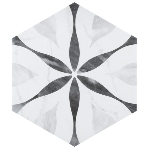 Classico Bardiglio Hexagon Flower 7 in. x 8 in. Porcelain Floor and Wall Tile (7.67 sq. ft. / case)