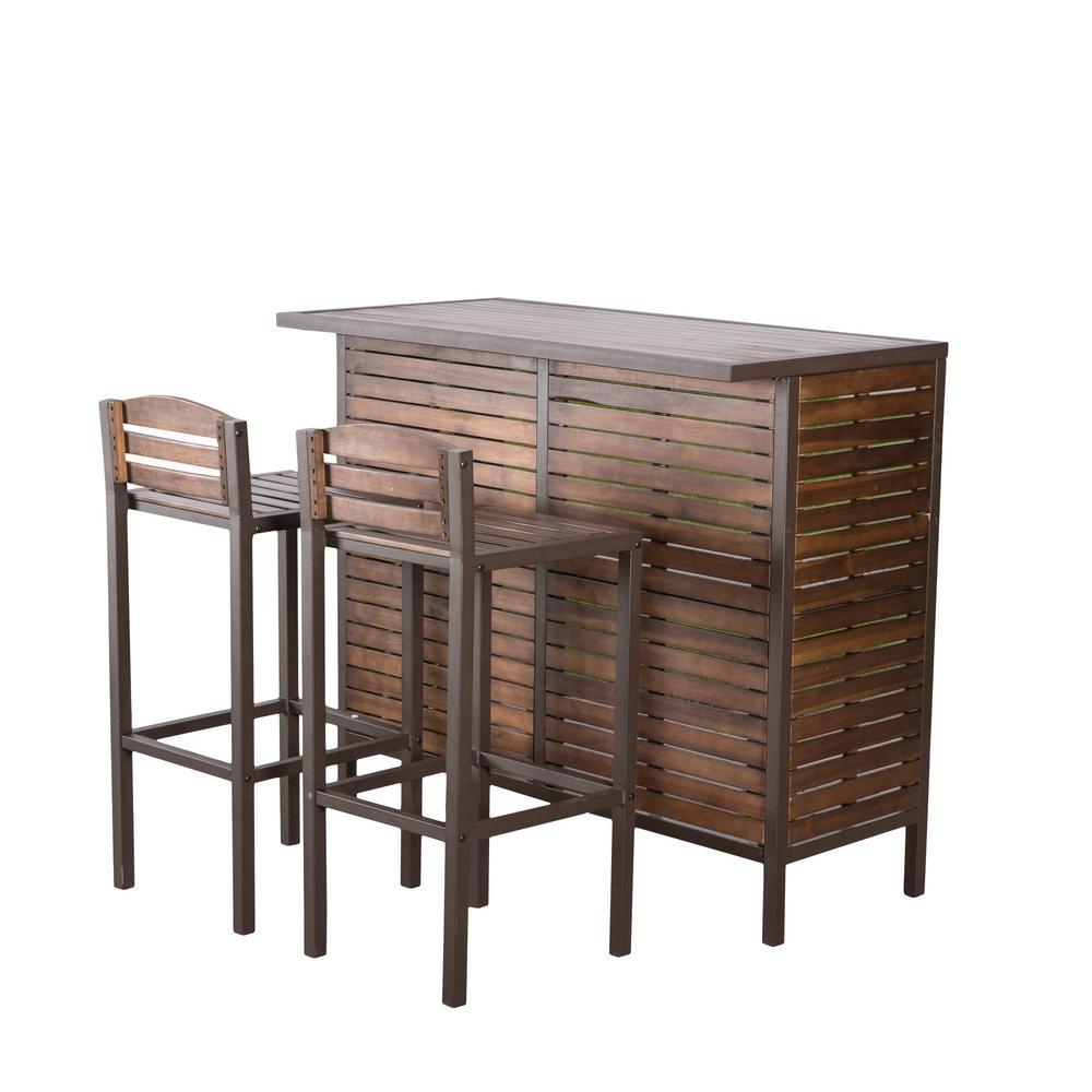 Cheryl wood outdoor bar stool 2 pack