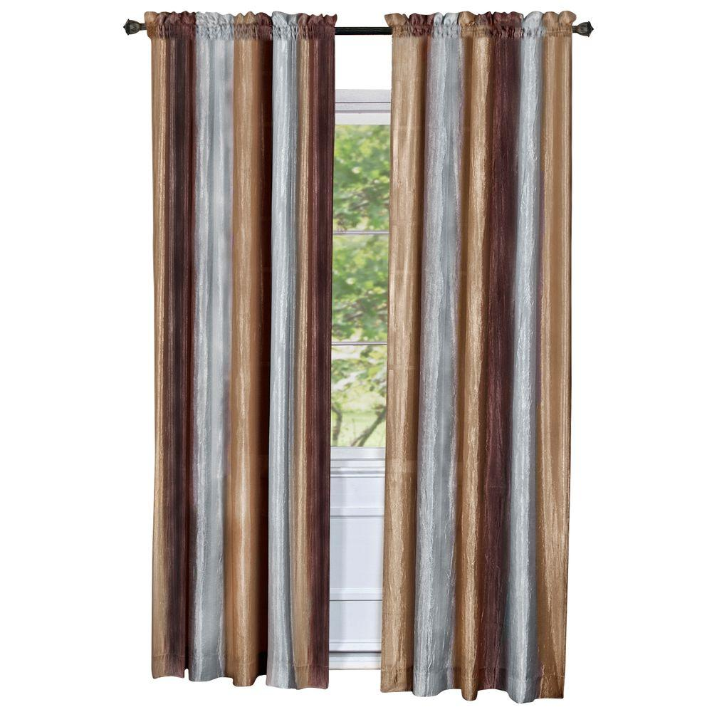 Achim Semi-Opaque Ombre Polyester 50 in. W x 63 in. L Curtain Panel in Chocolate