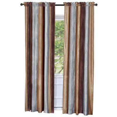 Semi-Opaque Ombre Polyester 50 in. W x 63 in. L Curtain Panel in Chocolate