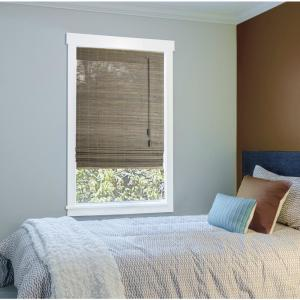 Home Decorators Collection Driftwood Beveled Reed Weave Bamboo Roman Shade 72 In W X 72 In L