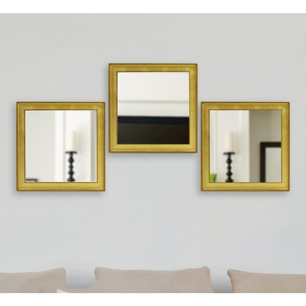 19.5 in. x 19.5 in. Vintage Gold Square Mirrors (Set of