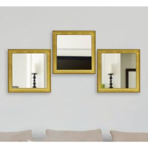 19.5 inch x 19.5 inch Vintage Gold Square Mirrors (Set of 3) by