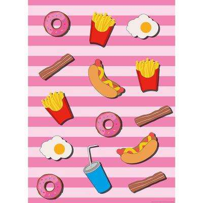 Fast Food Kitchen Pink Wall Mural