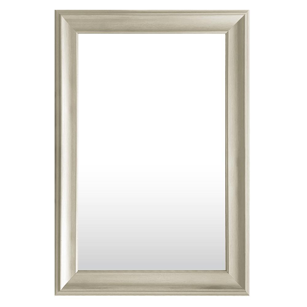 Medium Rectangle Silver Tone Hooks Contemporary Mirror (30 in. H x 42 in. W)