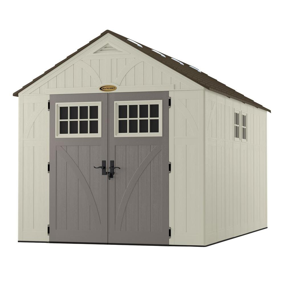 suncast tremont 13 ft 2 34 in x 8 ft 4 12 in resin storage shed with windows bms8135 the home depot